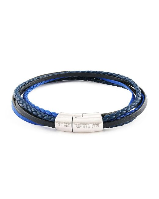 Tateossian - Cobra & Multistrand Sterling Silver Bracelet - Blue - Size Large for Men - Lyst