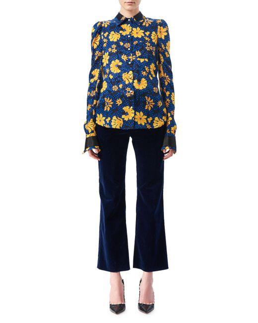 Altuzarra - Blue Marlowe Floral Dot Satin-trim Shirt - Lyst