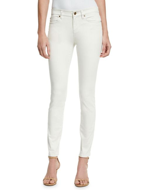 Eileen Fisher - White Sueded Organic-stretch Sateen Jeans - Lyst