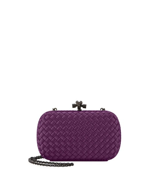 Lyst - Bottega Veneta Medium Chain Knot Satin Clutch Bag in Purple 57cb6de5d3641