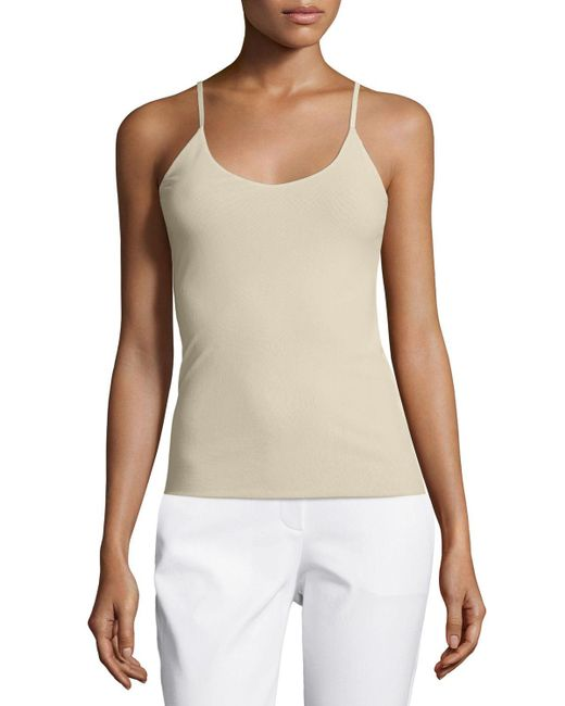 Lafayette 148 New York - Natural V-neck Jersey Tank Top - Lyst