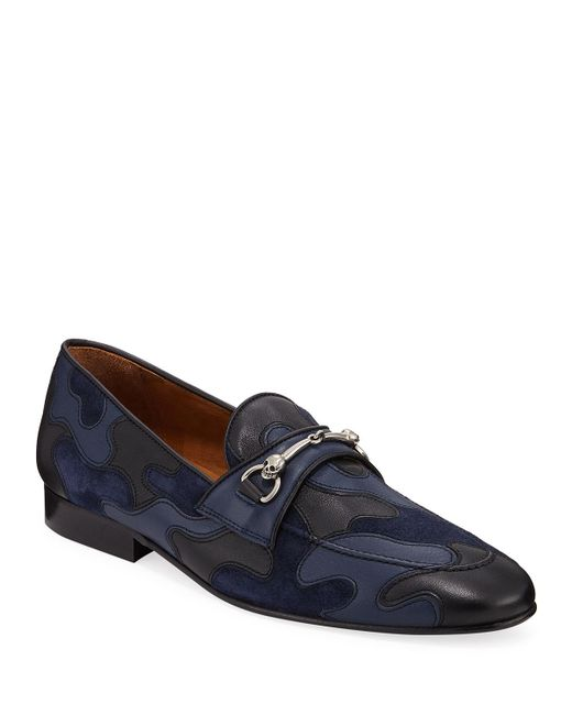 Donald J Pliner Blue Men's Palti Skull-bit Moc-toe Camo Loafers for men