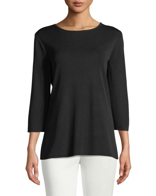 Misook - Black 3/4-sleeve Layering Shell - Lyst