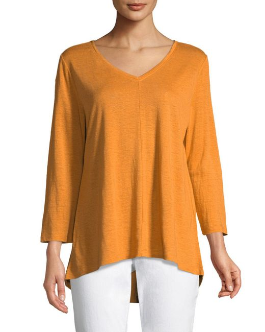 da5bc127fac Lyst - Eileen Fisher Organic Linen Jersey V-neck Top in Orange ...