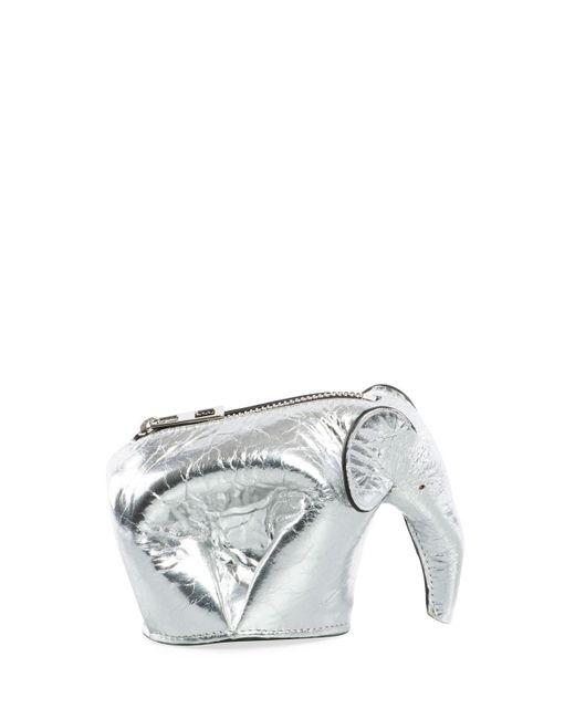 Loewe - Gray Metallic Leather Elephant Coin Purse - Lyst