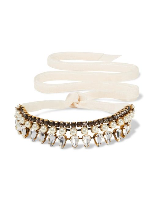 Erickson Beamon | White Born Again Gold-plated, Swarovski Crystal And Faux Pearl Choker | Lyst