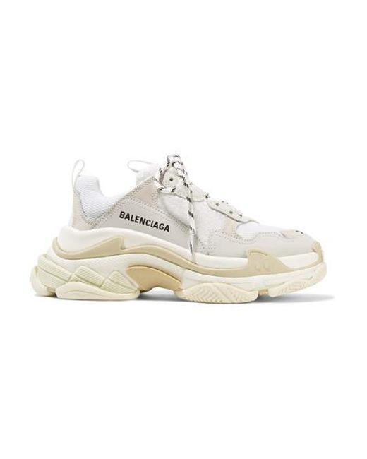 Balenciaga White Triple S Logo-embroidered Leather, Nubuck And Mesh Sneakers