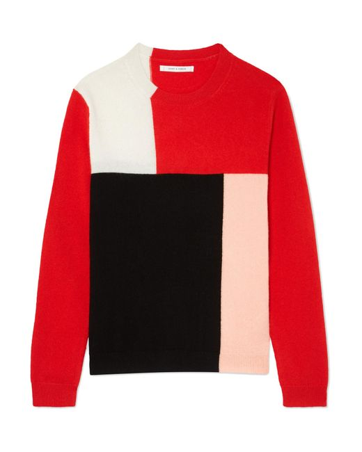 Chinti & Parker - Red Luis Casa Color-block Cashmere Sweater - Lyst