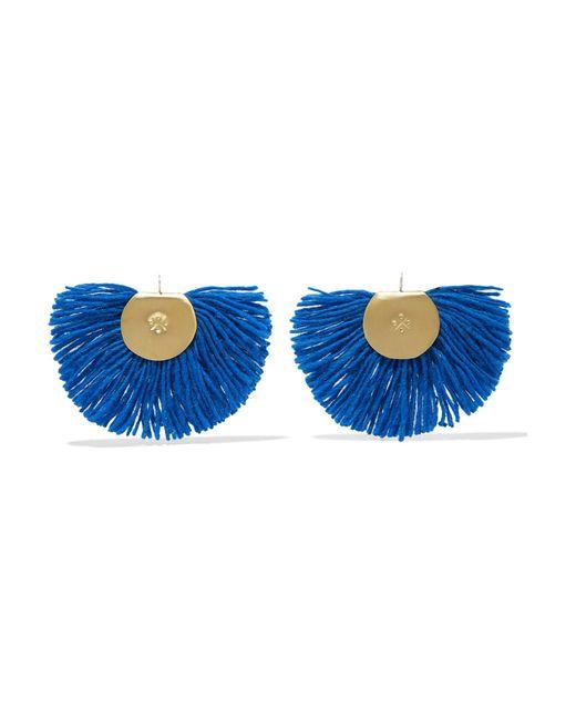 Katerina Makriyianni - Blue Fan Fringed Gold-tone Earrings - Lyst