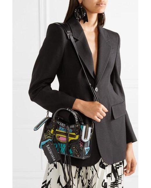 0a14e750dda ... Balenciaga - Black Classic City Mini Printed Textured-leather Tote -  Lyst ...