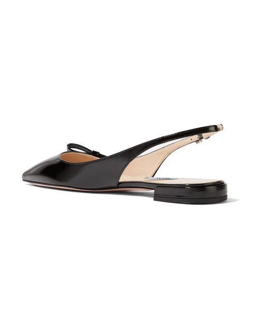 d2c17da5afd ... Prada - Black Glossed Textured-leather Slingback Flats - Lyst ...