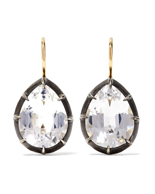 Fred Leighton - Metallic Collection 18-karat Gold, Sterling Silver And Topaz Earrings - Lyst