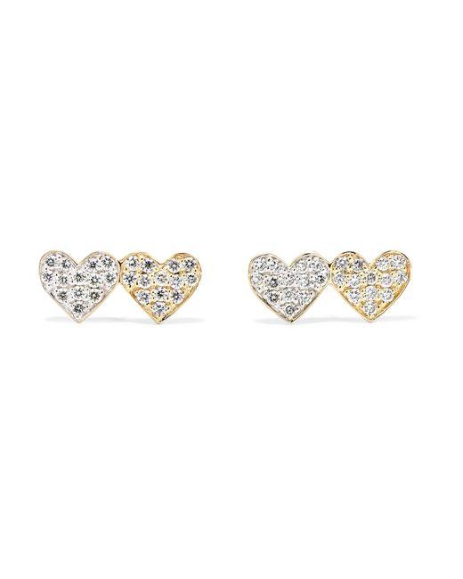 Sydney Evan Metallic Double Hearts 14 Karat Gold Diamond Earrings Lyst
