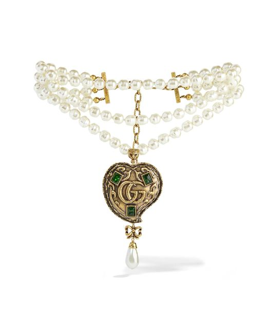 Gucci | Metallic Burnished Gold-tone, Faux Pearl And Crystal Necklace | Lyst