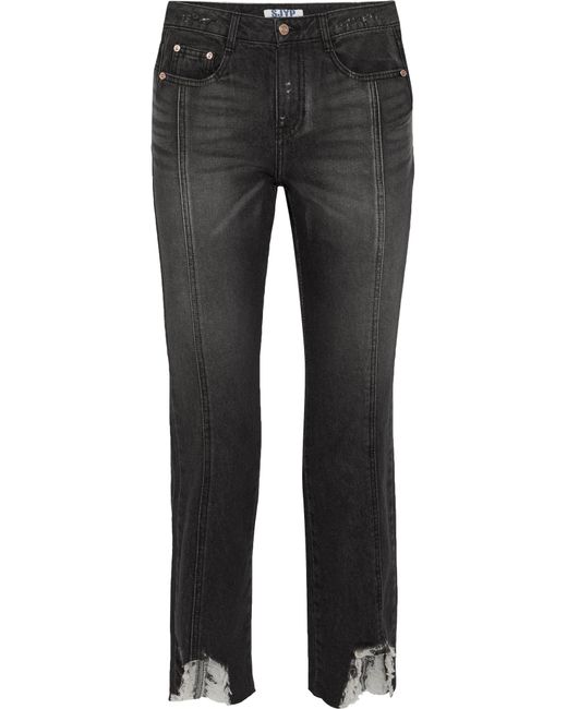 SJYP | Black Distressed High-rise Straight-leg Jeans | Lyst