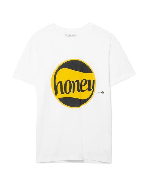 Ganni - White Harway Printed Cotton-jersey T-shirt - Lyst