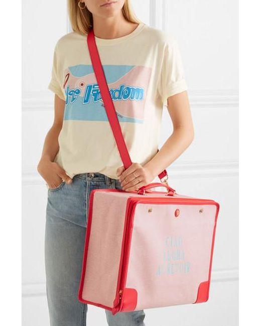 91c25286d2f2d ... Paravel - Red Stowaway Koffer Aus Bedrucktem Canvas Mit Lederbesätzen -  Lyst