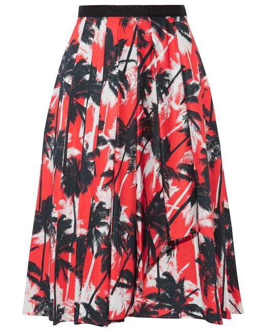 Jason Wu | Red Grosgrain-trimmed Printed Cotton-poplin Skirt | Lyst