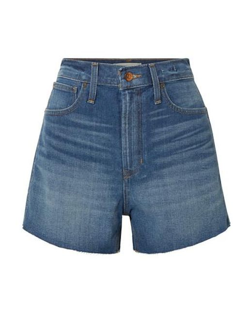 Madewell Blue The Perfect Vintage Frayed Denim Shorts
