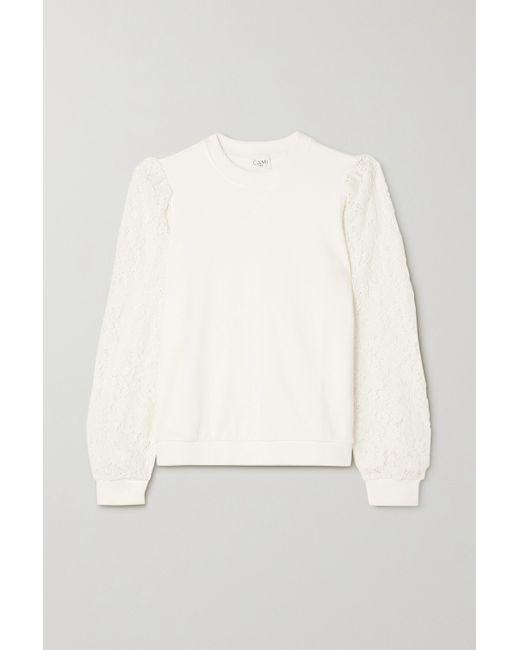 Cami NYC White Risa Sweatshirt Aus Baumwollfrottee Und Schnurgebundener Spitze