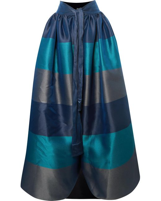 Alexis Mabille - Blue Bow-detailed Embellished Striped Satin-piqué Maxi Skirt - Lyst
