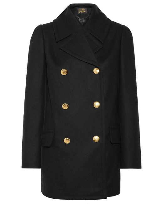Vivienne Westwood Anglomania - Black Mosto Double-breasted Melton Wool Coat - Lyst
