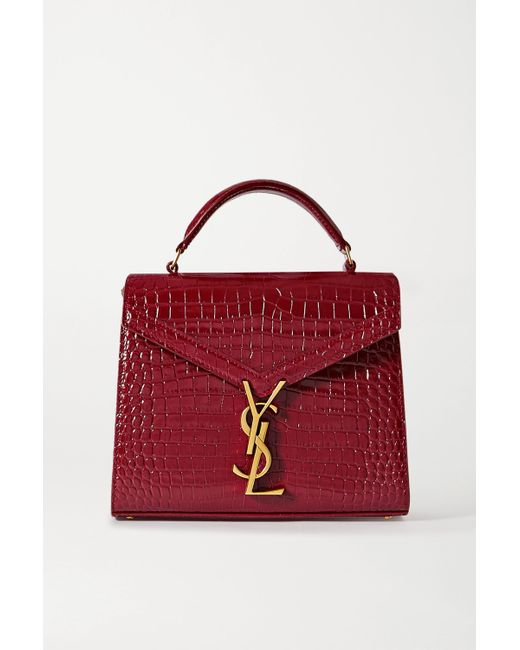 Saint Laurent Red Cassandra Croc-effect Leather Tote