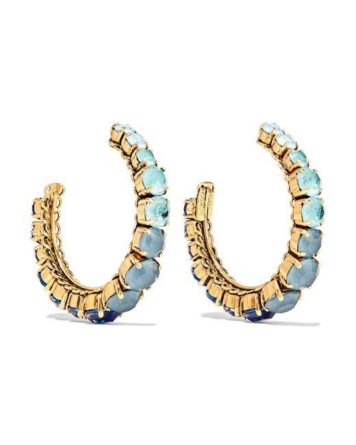 Erickson Beamon | Blue Rhapsody Gold-tone Crystal Hoop Earrings | Lyst
