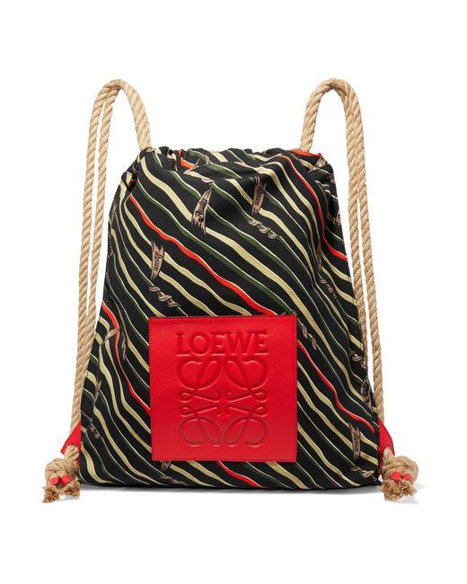 Loewe - Black + Paula's Ibiza Yago Leather-trimmed Printed Cotton-canvas Backpack - Lyst