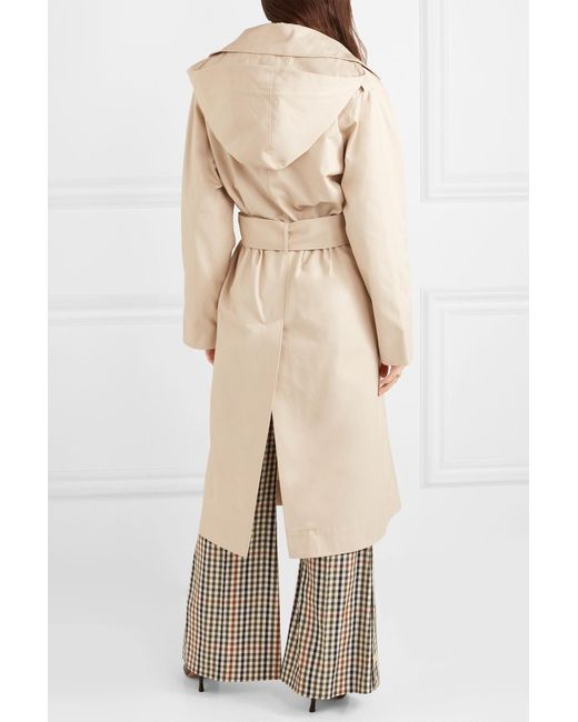0255b8aa58d6 ... Joseph - Natural Carbon Hooded Cotton-garbardine Trench Coat - Lyst ...