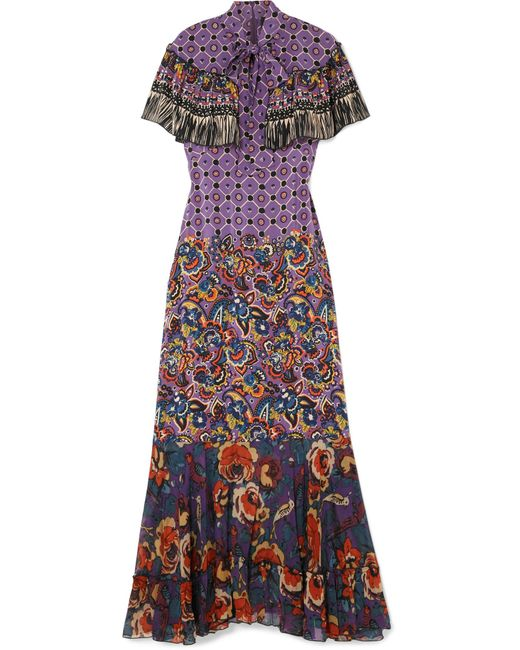 Anna Sui | Purple Printed Silk Crepe De Chine And Georgette Maxi Dress | Lyst