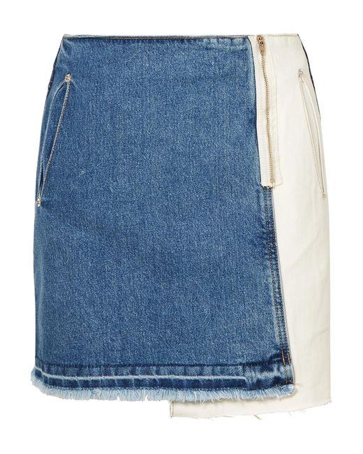 SJYP - Blue Distressed Patchwork Denim Mini Skirt - Lyst