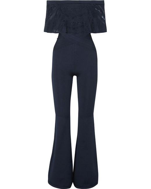 Hervé Léger - Blue Off-the-shoulder Lace-trimmed Bandage Jumpsuit - Lyst