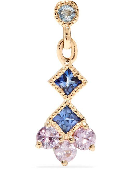 Jennie Kwon Designs Momentum 14-karat Gold, Aquamarine And Sapphire Earring