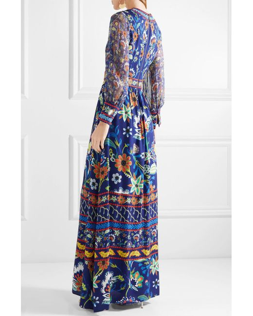 Limited Edition For Sale Jaida Embroidered Crepe And Silk-chiffon Maxi Dress - Blue Alice & Olivia Cheap Finishline Sale Comfortable Clearance Shop Ku1et