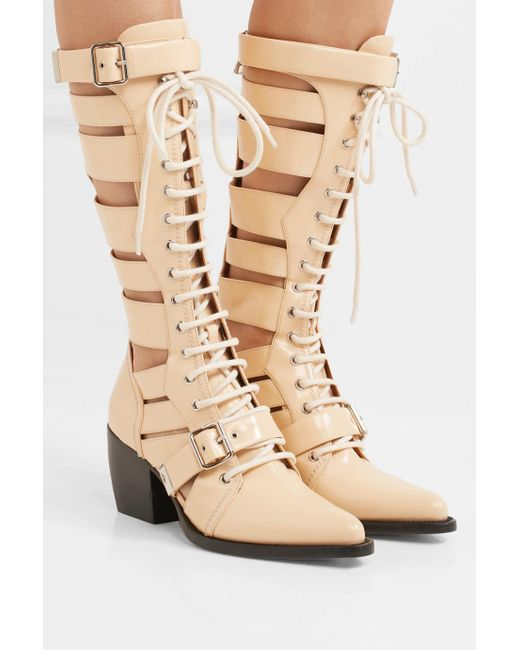 Rylee Cutout Glossed-leather Boots - Yellow Chlo Really Cheap Price Real Sale Online sqHwe4b
