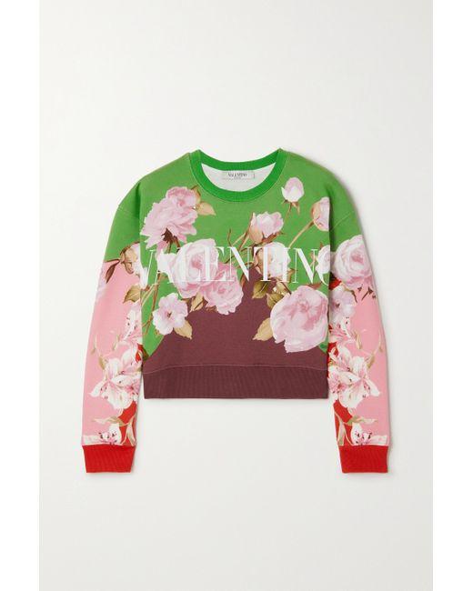 Valentino Green Verkürztes Sweatshirt Aus Jersey Aus Einer Baumwollmischung Mit Blumenprint