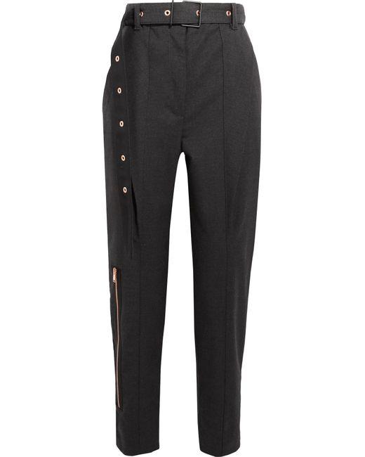 Proenza Schouler | Gray Belted Wool-blend Straight-leg Pants | Lyst