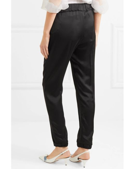 Clearance Online Fake Leather-trimmed Satin Track Pants - Black Prada Discount Official Site Cheap Sale Pick A Best Get Online Outlet Shop v1WAsO6