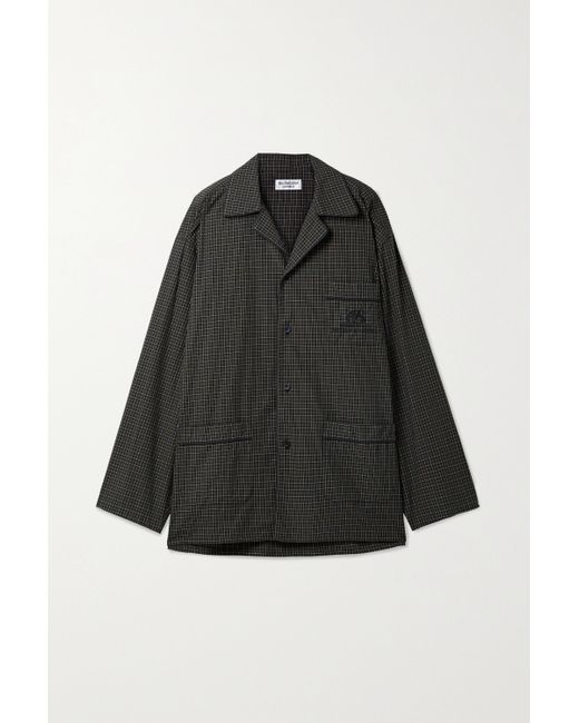 Balenciaga Black Oversized Embroidered Checked Cotton-poplin Shirt