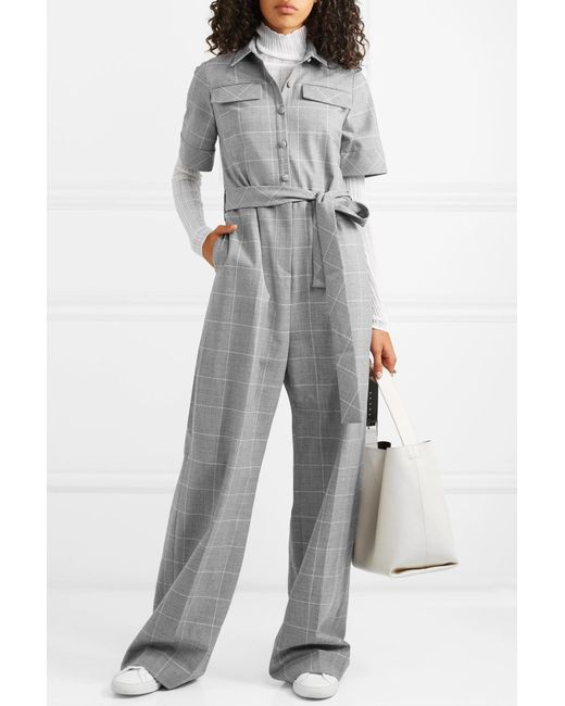 93acc03f1384 ... Lela Rose - Gray Checked Cady Jumpsuit - Lyst ...