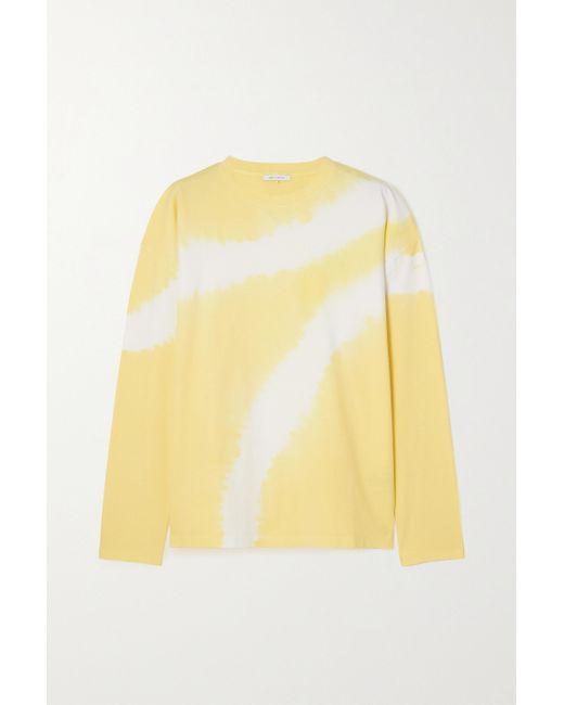 NINETY PERCENT Yellow Oversized-oberteil Aus Biobaumwoll-jersey Mit Batikmuster