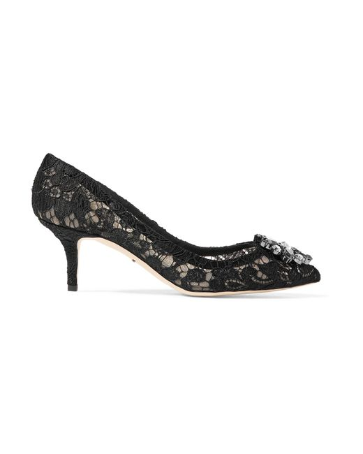 Dolce & Gabbana | Black Crystal-embellished Corded Lace And Mesh Pumps | Lyst