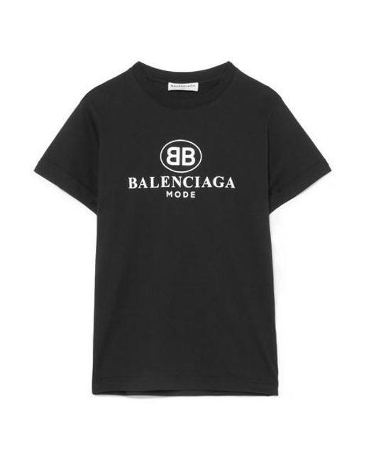 Balenciaga Black Printed Cotton-jersey T-shirt