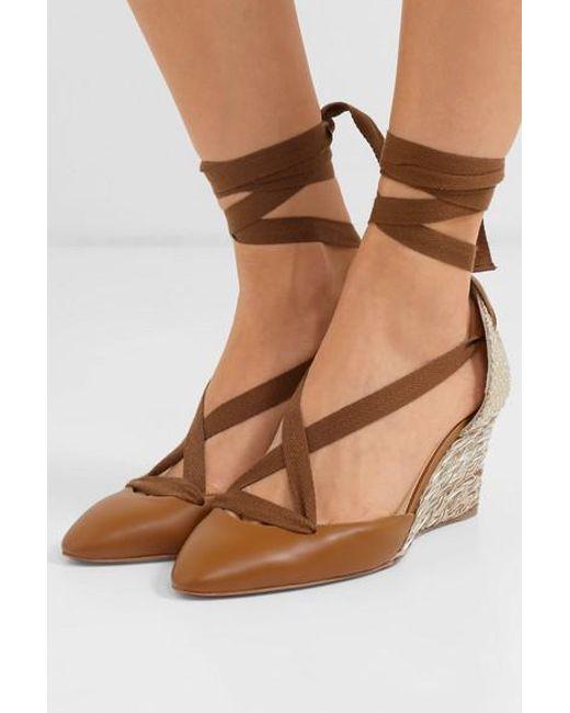 00bec18d44c Women's Brown Noemia 70 Leather Wedge Espadrilles