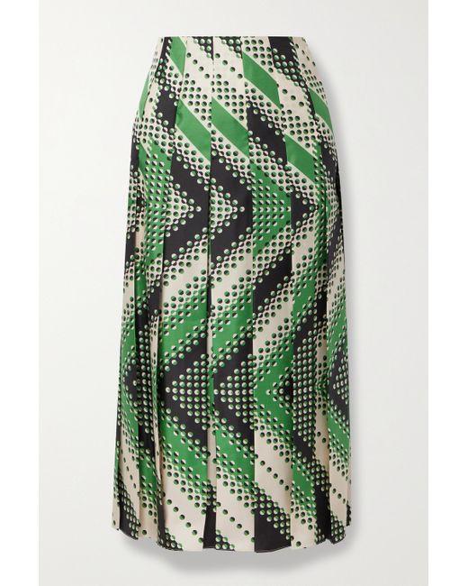 Gucci Green Pleated Printed Silk-twill Midi Skirt