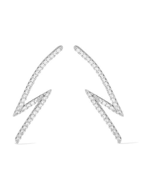 Kenneth Jay Lane | Metallic Lightning Bolt Silver-plated Cubic Zirconia Earrings | Lyst