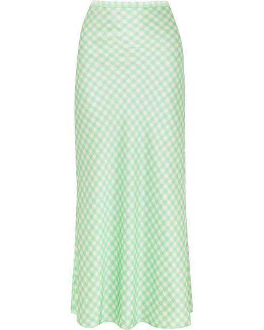 BERNADETTE Green Florence Gingham Silk-satin Midi Skirt