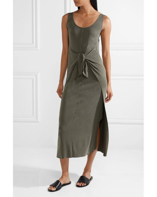 Tie-front Modal-blend Jersey Midi Dress - Green Vince 3arUcZq