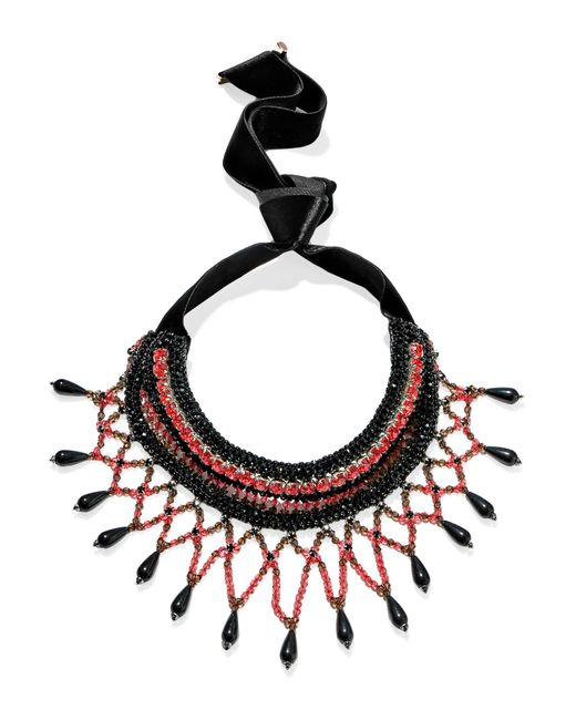 Etro | Black Crystal And Bead-embellished Necklace | Lyst
